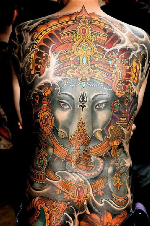 Great colorful ganesha on whole back