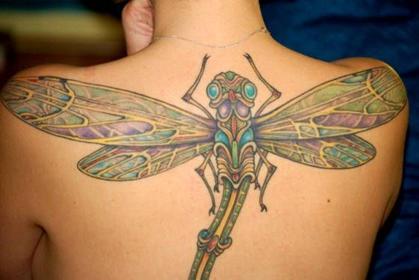 Great coloured dragonfly tattoo on back for girls