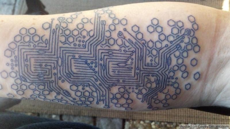 Computer Circuit Tattoo