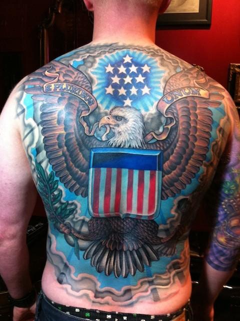 Great eagle and usa flag tattoo on whole back
