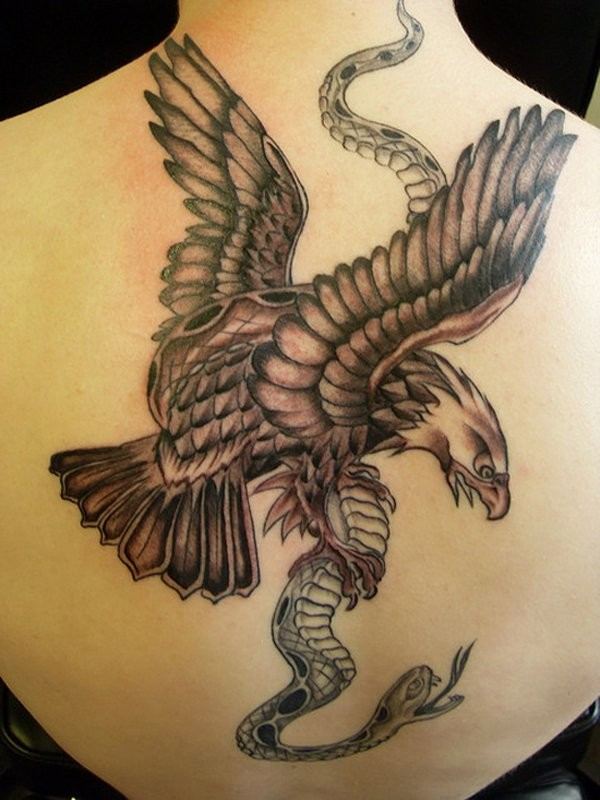 Great eagle with snake tattoo on back by Jam Tat
