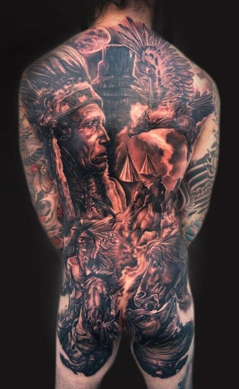 Great epic native american composition tattoo on back by Josh Duffy and Mike DeVries
