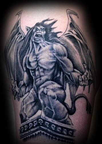 great evil gargoyle tattoo. Black Bedroom Furniture Sets. Home Design Ideas
