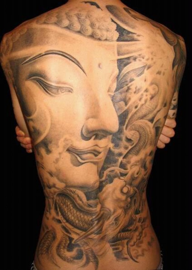 Great face of buddha tattoo on whole back