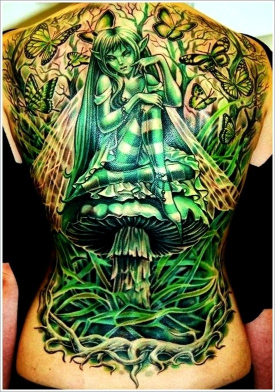 Great green fairy tattoo on whole back