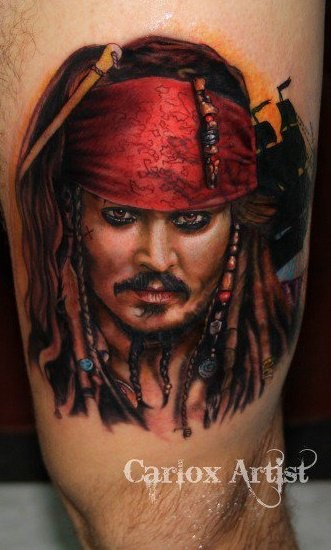 Great jack sparrow portrait tattoo for Captain jack sparrow tattoo