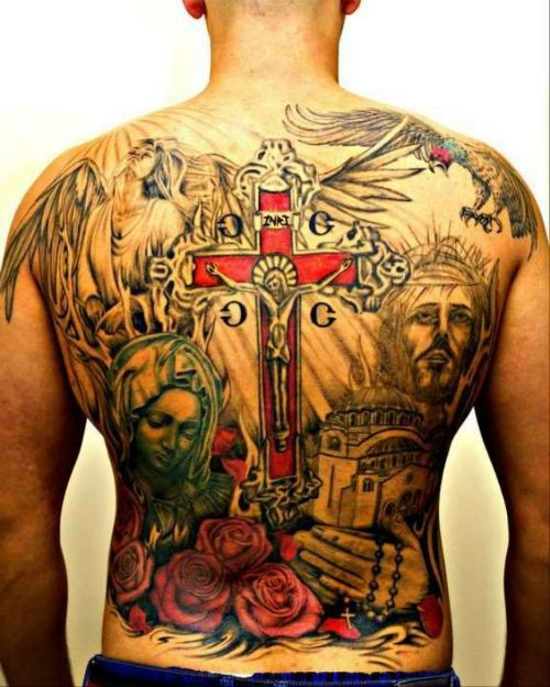Great jesus with crucifix tattoo on whole back