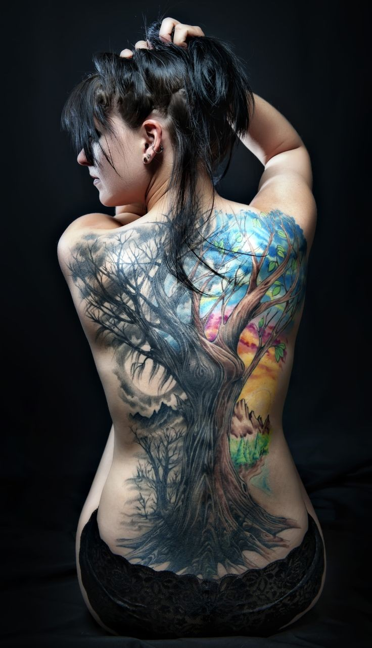 Great lovely colorful tree tattoo on back