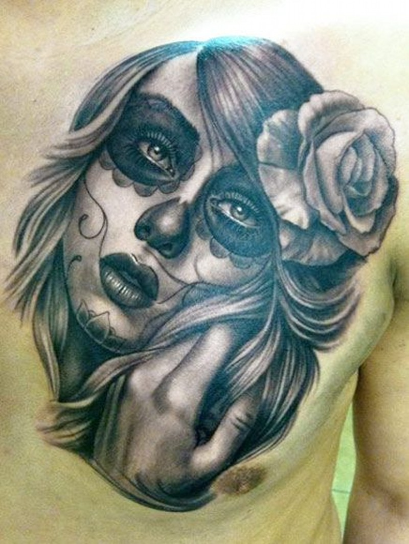 Great lovely santa muerte girl with rose in hair tattoo on chest