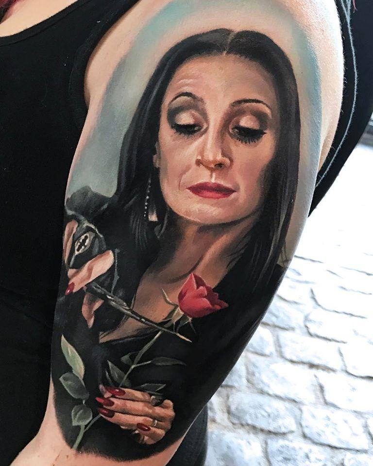 Great Morticia Addams portrait tattoo