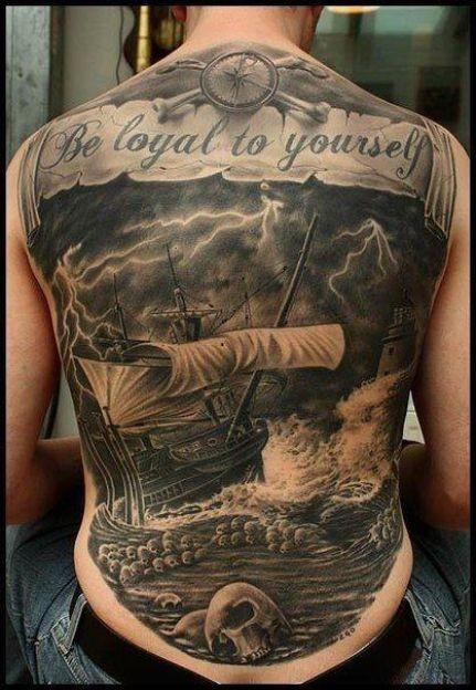 Great nautical tattoo on whole back