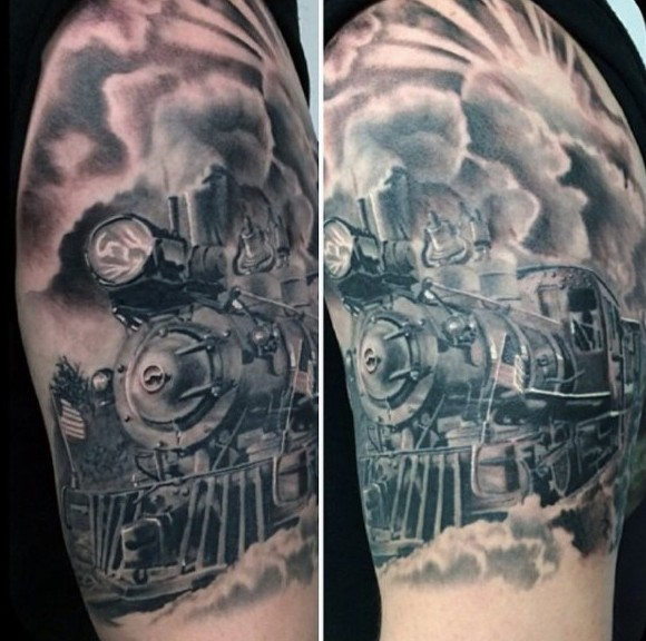 Great painted and detailed big black and white old train tattoo