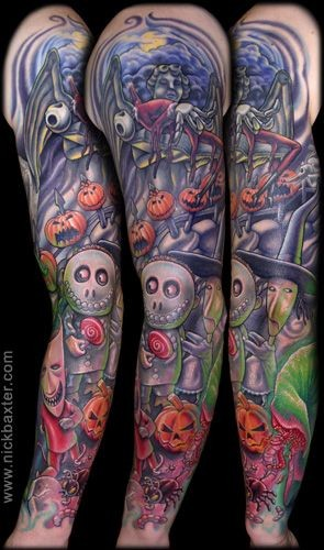 Great painted and detailed monster cartoon like big tattoo on sleeve