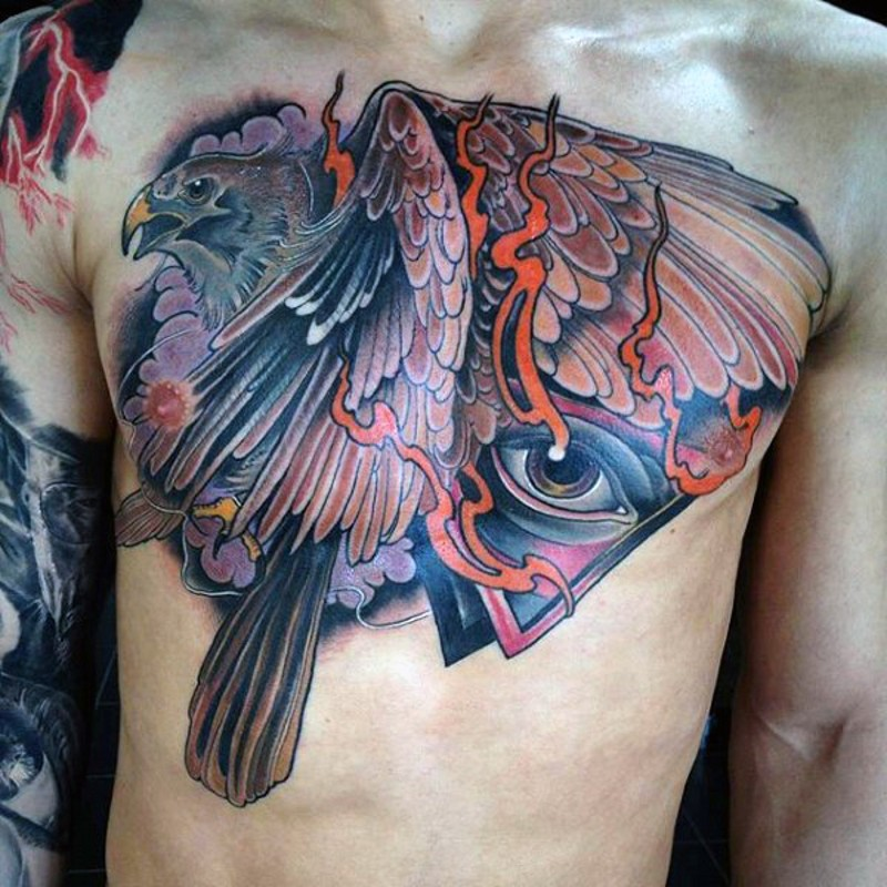 Great painted colored eagle tattoo on chest combined with steamy mystical triangle and eye