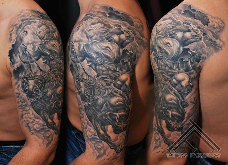 Great painted very detailed black and white warrior on horse tattoo on shoulder
