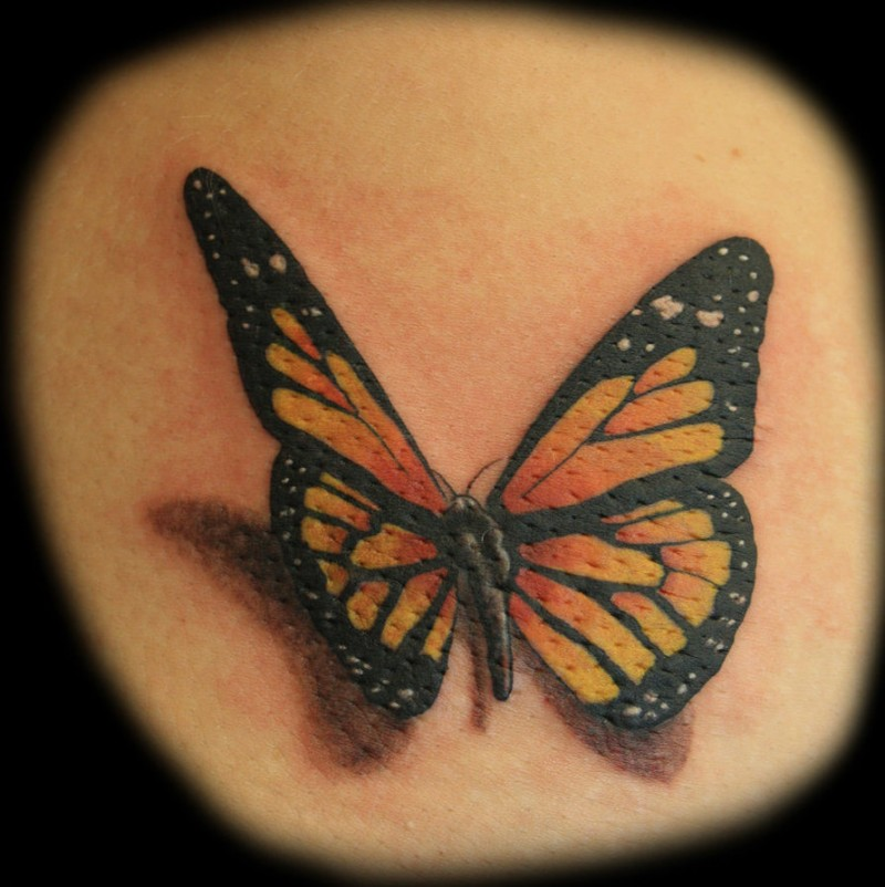Great realistic butterfly tattoo