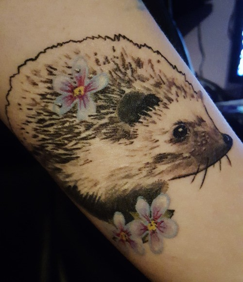 Great realistic gray-ink hedgehog with white flowers tattoo on arm