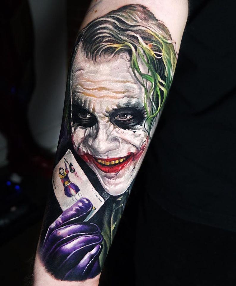 Great realistic Joker tattoo on sleeve