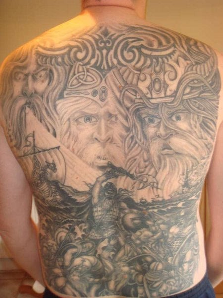 Great scandinavian gods and battle of vikings tattoo on whole back