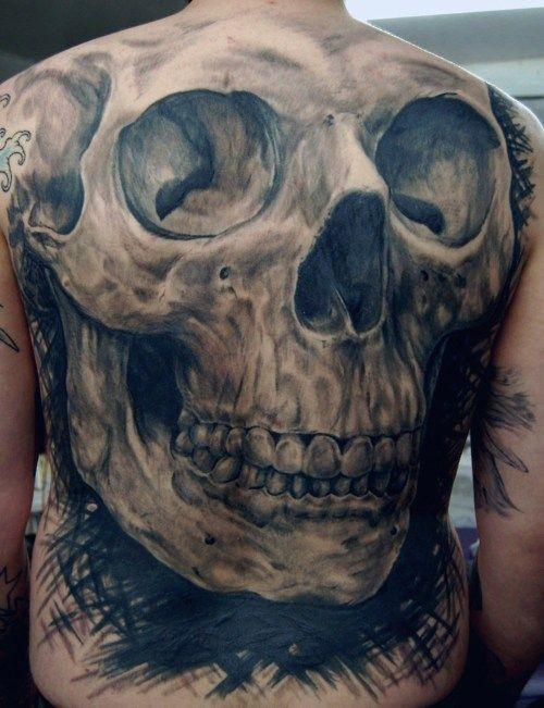 Large human skull tattoo on the back