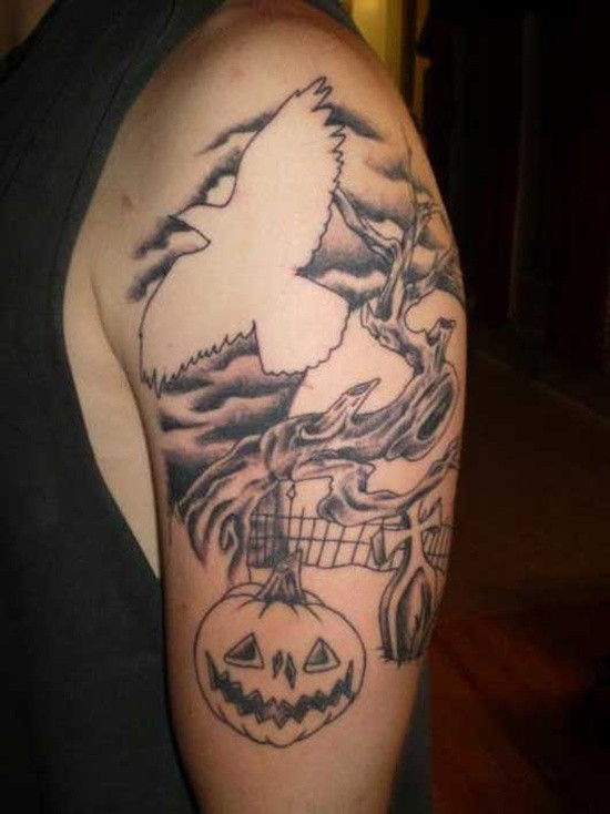 Great uncolored mystical cemetery tattoo with big bird on shoulder
