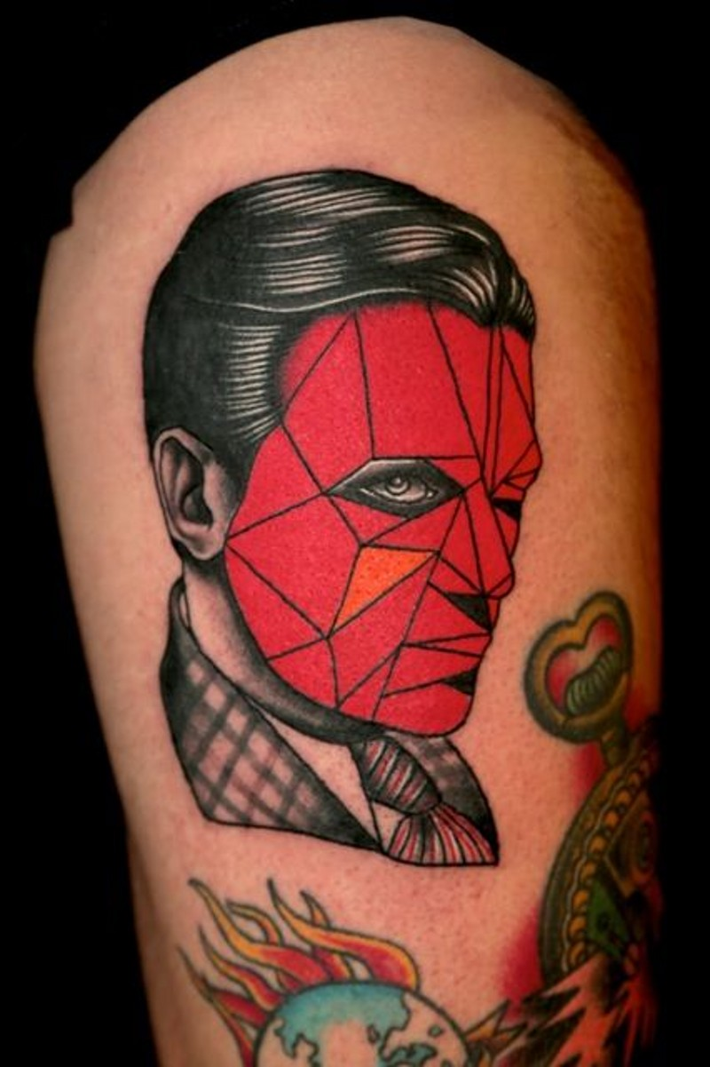 Great vintage style red colored faceless portrait tattoo on thigh
