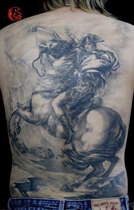 Great warrior general tattoo on back