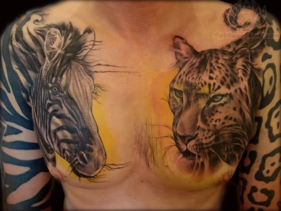 Great wold life themed colored leopard and zebra tattoo on chest