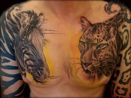 grande a tema mondo animali colorato leopardo e zebra tatuaggio su petto