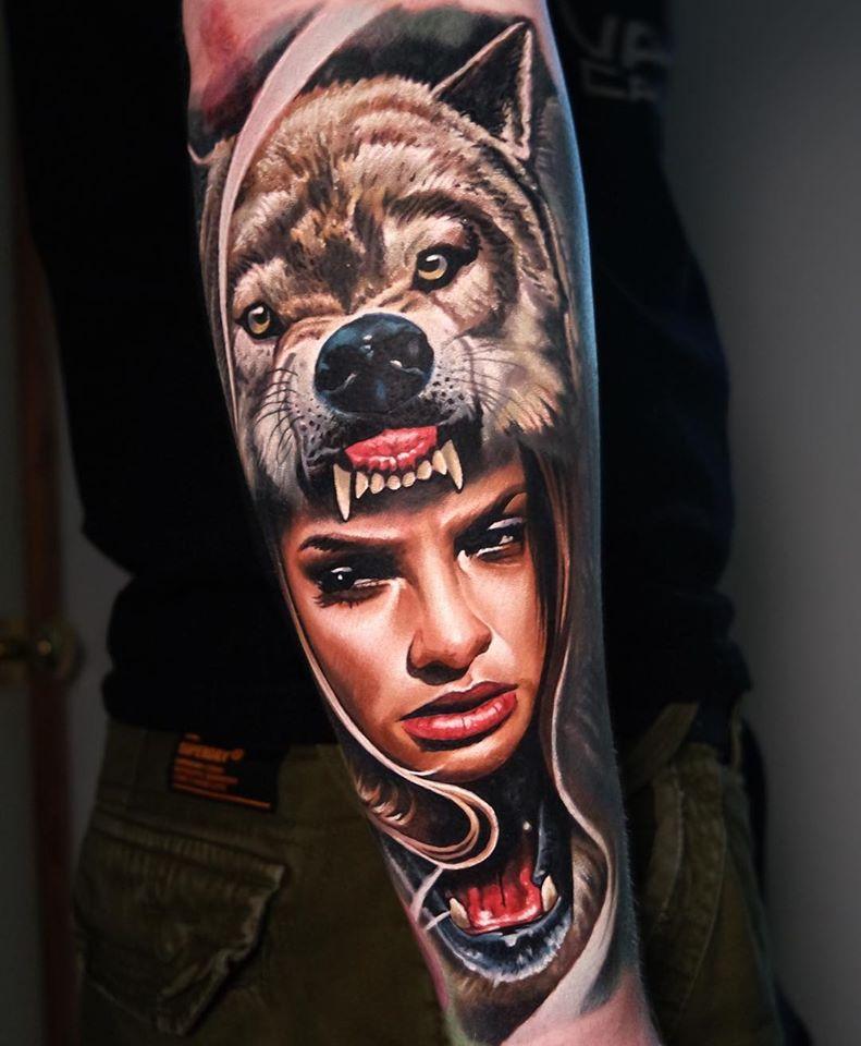 Great WolfGirl tattoo on arm