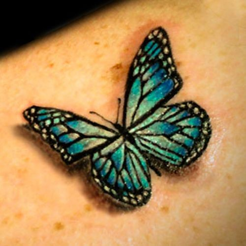 Realistic green butterfly tattoo