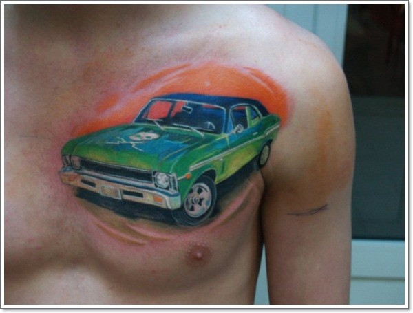 Green car with skull tattoo on chest