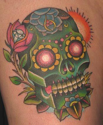 Green sugar skull with rose and diamond tattoo
