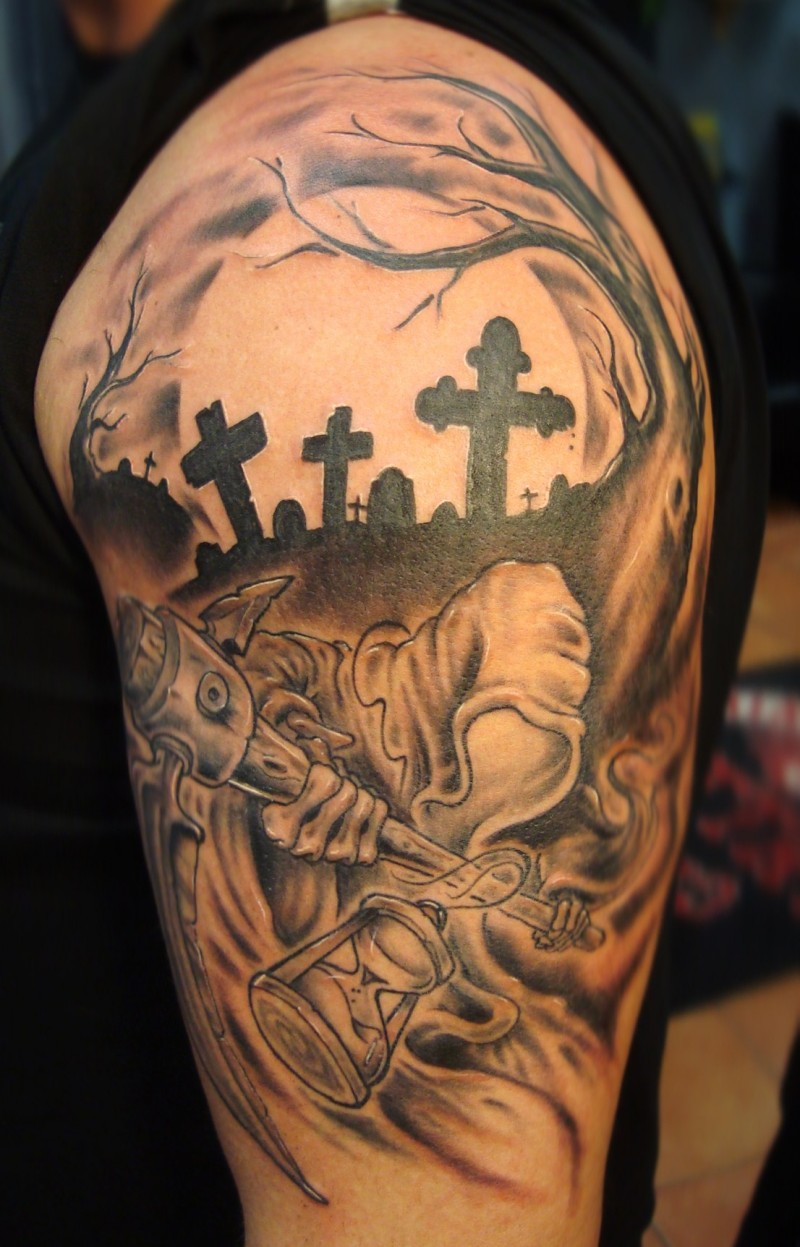 Grim reaper in cemetery tattoo by vinoshitto
