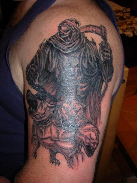 Grim reaper with dog cerberus tattoo