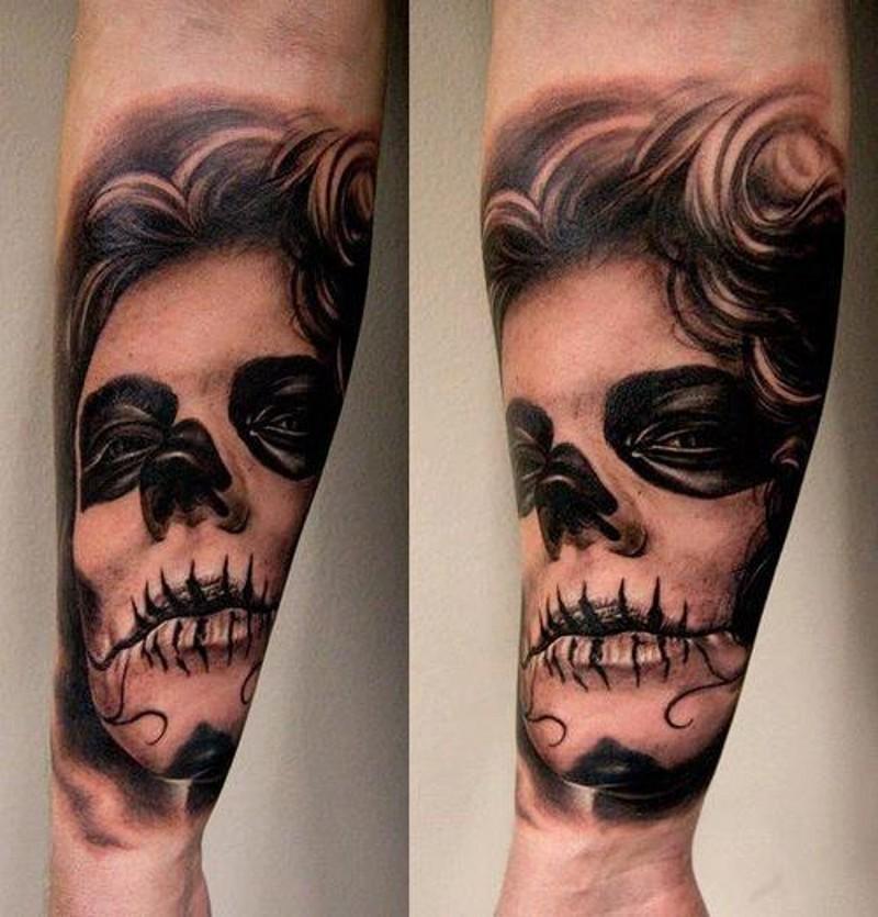 Grim santa muerte girl forearm tattoo