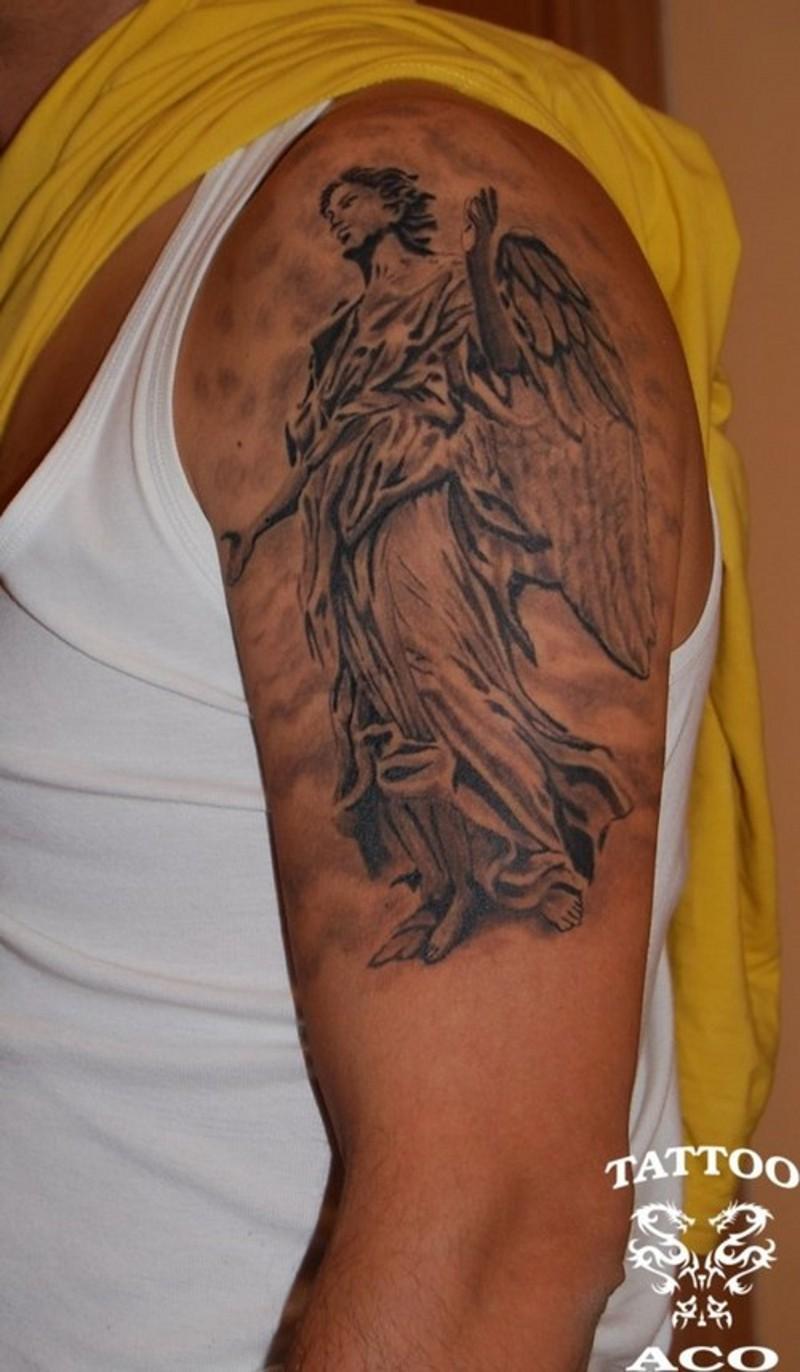 Guardian angel tattoo on shoulder