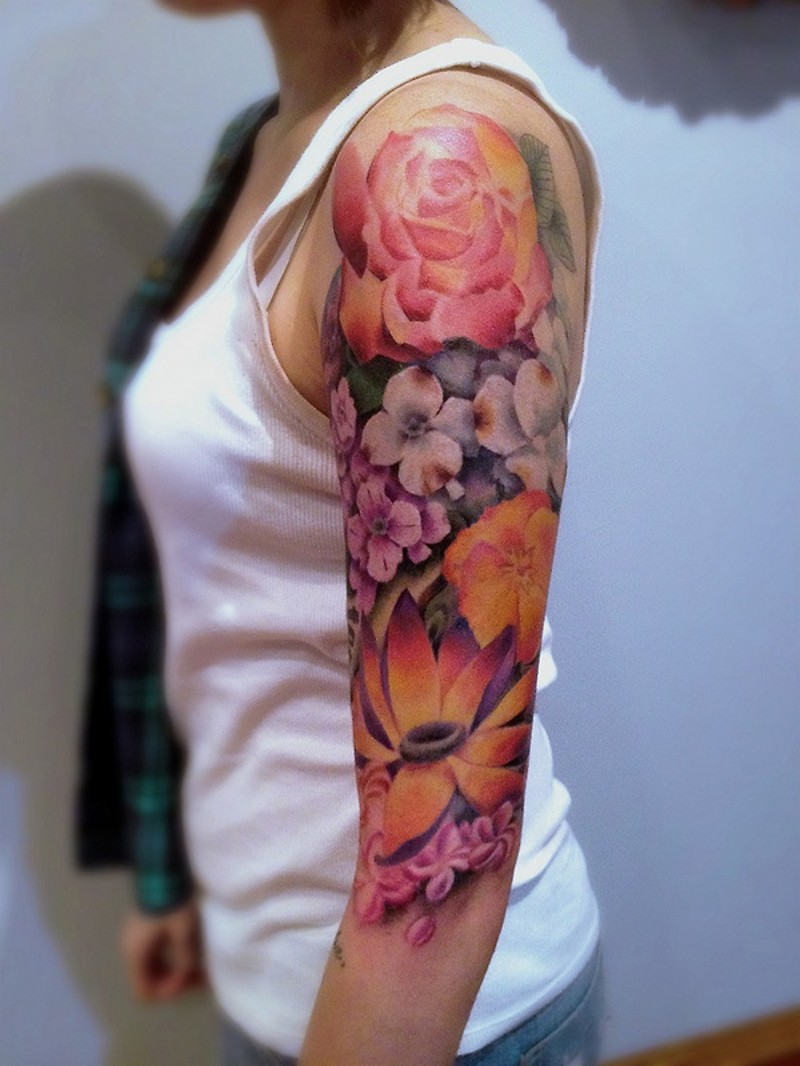 Half 3D style colored beautiful looking half sleeve tattoo of various jungle flowers
