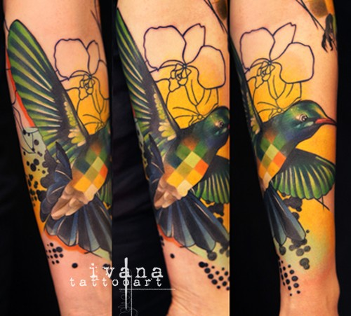 Half abstract style colored forearm tattoo of bird with flowers