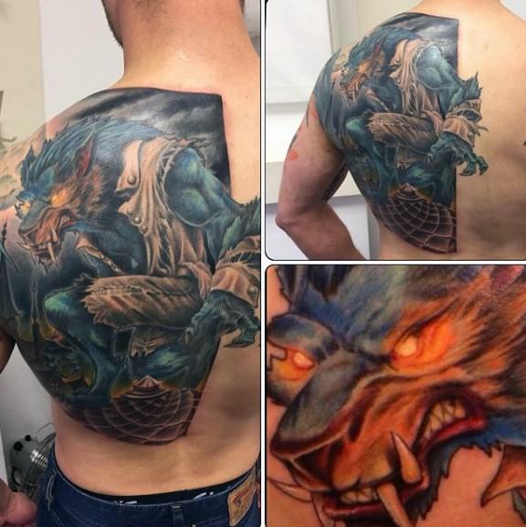 Half back colorful illustrative style demonic werewolf tattoo