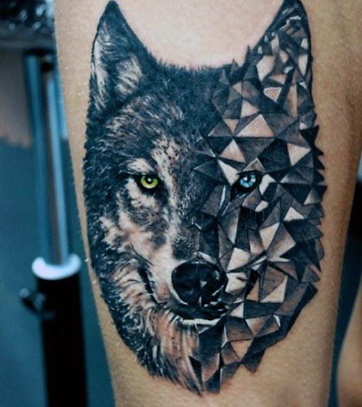 Half real half stone colored wolf head tattoo on thigh