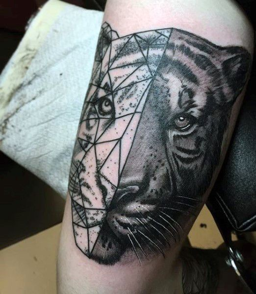 Half realism half geometric style black and white shoulder tattoo of tiger head
