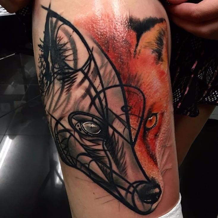 Half realistic half geometrical naturally colored fox&quots head tattoo