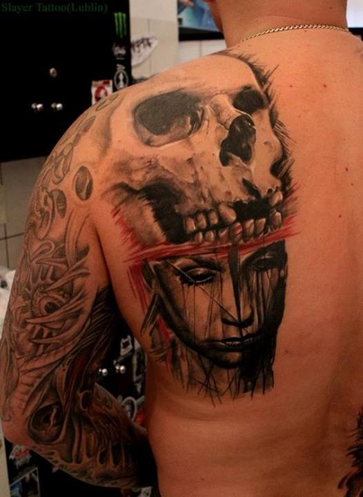 Half Skull And Half Face Of A Girl Tattoo By Daniel Melaniuk