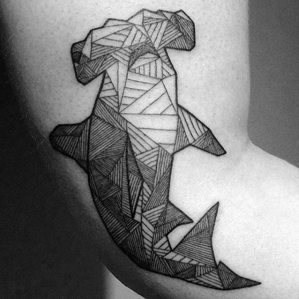 Hammerhead shark black and white lined work tattoo on arm