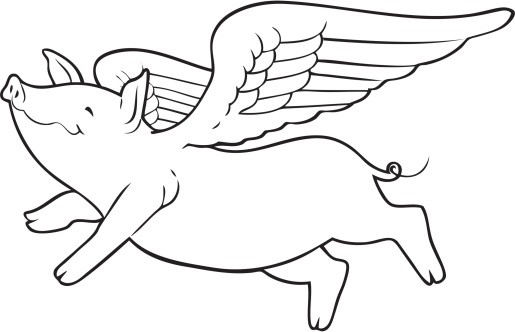Happy outline flying pig with angel wings tattoo design