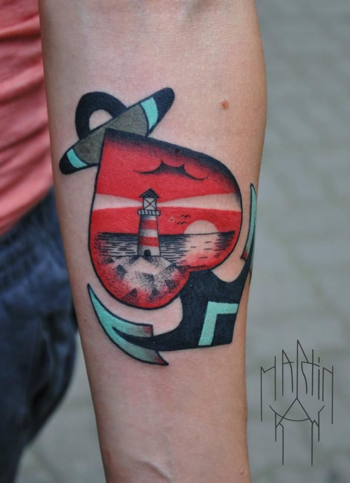 Heart anchor and lighthouse on traditional tattoo