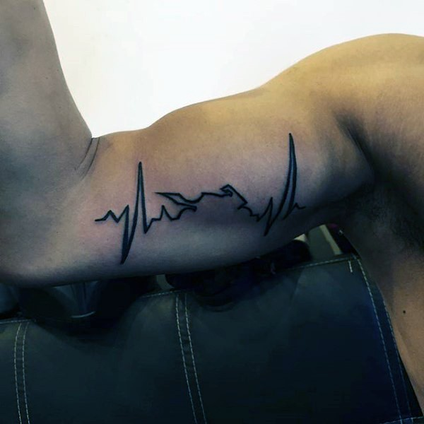 Heart rhythm black ink tattoo on biceps