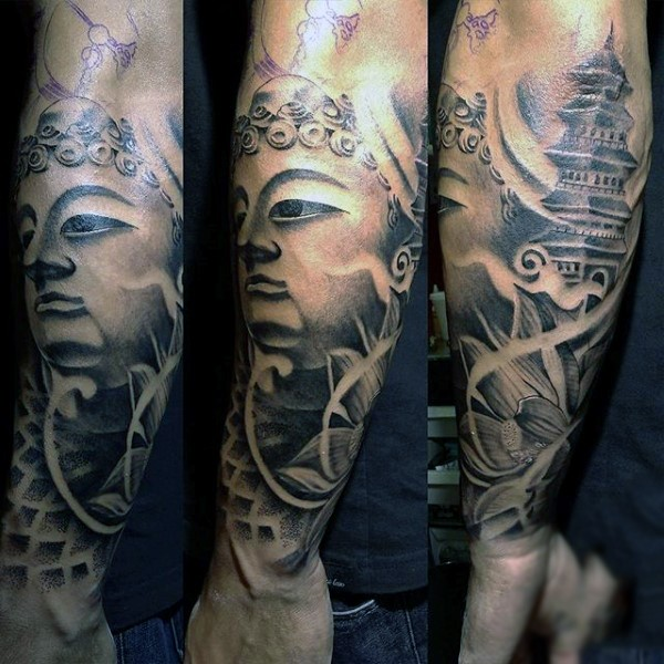 Hinduism style black and white forearm tattoo of Buddha statue and old temple
