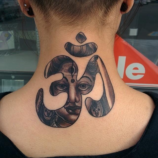 Hinduism style black ink little symbol tattoo on neck